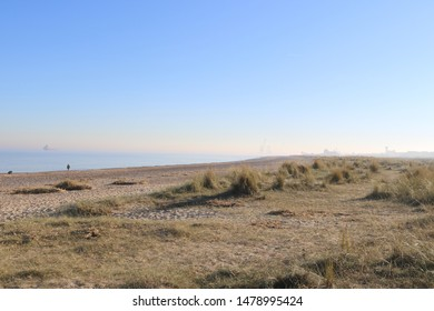 view over the beach and dunes at Great Yarmouth, Norfolk, England