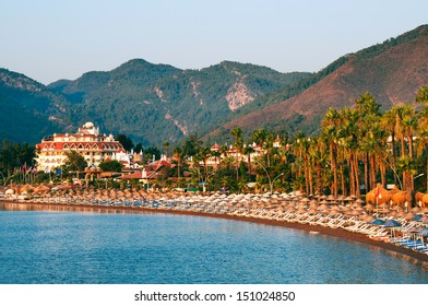 View over the beach of Icmeler near Marmaris in Turkey