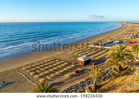 View over the beach of Playa del Ingles on Gran Canaria in Spain at sunrise