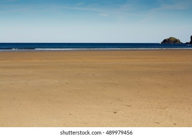 View over the beach at Polzeath in Cornwall, England