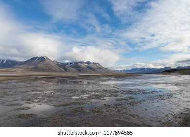 View over beautiful Adventdalen, a jjord and valley in the arctic tundra of Svalbard or Spitsbergen, northern Norway