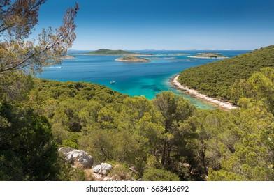 View over a beautiful bay on Otok Vrgada, Croatia, Europe