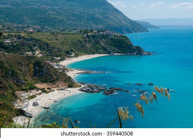View over beautiful coast of calabria fronting the blue mediterranean sea