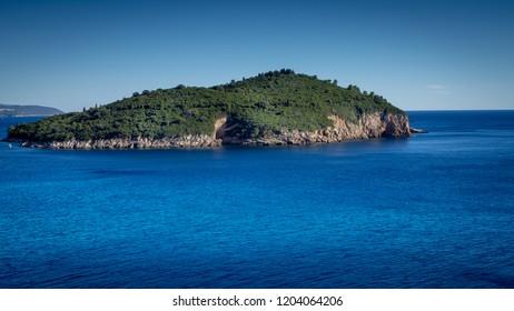 View over beautiful island Lokrum in Dubrovnik