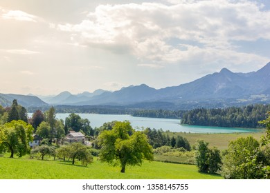 View over the beautiful lake Faak with Karawanks mountain range on the background on a summer day in Carinthia, Austria