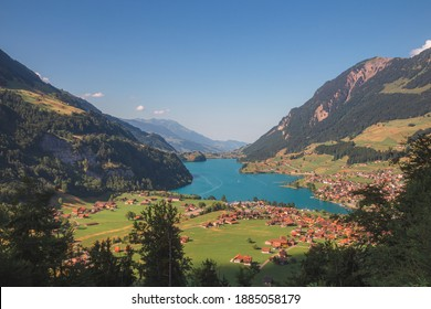 A view over the beautiful Lake Lungern (Lungerersee) on a clear sunny day taken from Schoenbuehel viewing point.