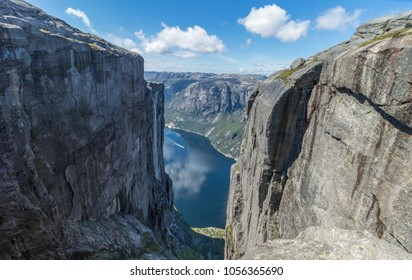 View over beautiful Lysefjord as seen from Kjerag mountain, a famous destination and hike in Norway