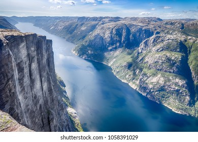 View over beautiful Lysefjord as seen from Kjerag mountain, a famous destination and hike in Norway, HDR version