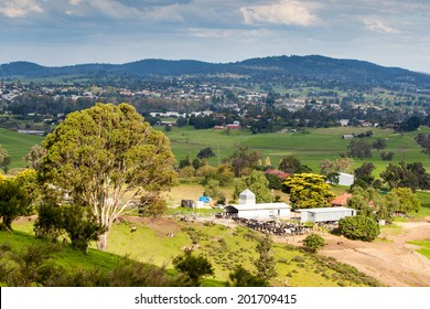 A view over Bega and surrounding farmland on a sunny day in New South Wales, Australia