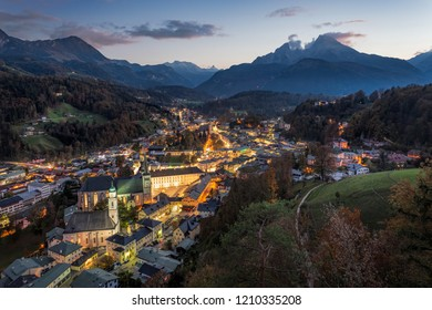 View over Berchtesgaden at night, Bavaria, Germany