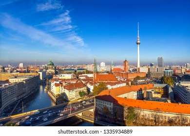 View over Berlin and TV Tower in Berlin, Germany