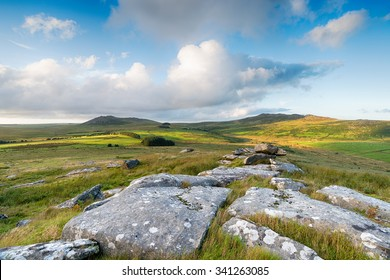 A view over Bodmin Moor in Cornwall with the two highest peaks of Roughtor on the left and Brown Willy to the right
