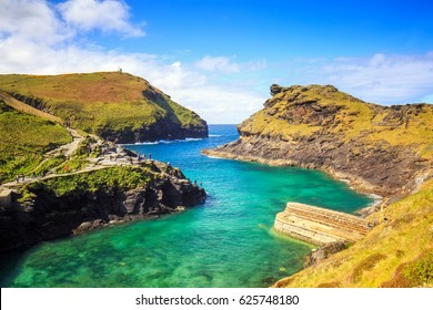 The view over Boscastle harbour, Cornwall, England.