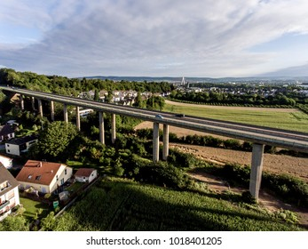 The view over bridge highway in Germany Koblenz Andernach on sunny day
