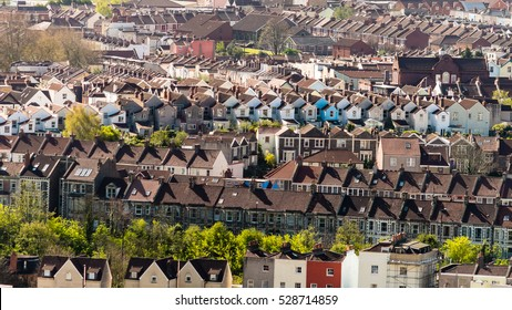 View Over Bristol Row Of Terraced Houses A England horizontal photography