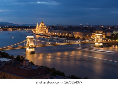 View over Budapest with the Chain Bridge and Hungarian Parliament during sunset