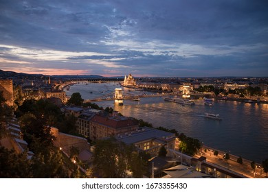 View over Budapest during sunset