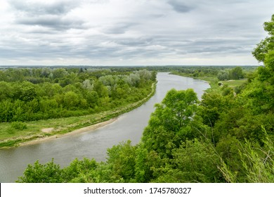 View over Bug River from castle hill in Drohiczyn, Poland, Europe