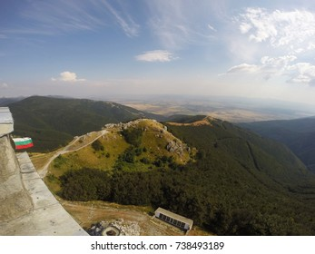 view over Bulgarian mountain with Bulgarian flag