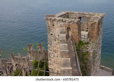view over castello scaligero and lake garda in Torri del Benaco