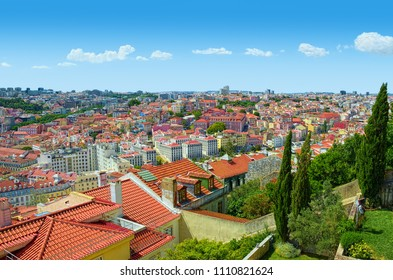 View over central part of Lisbon city, Portugal, from a hill at sunny summer day.
