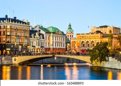 View over central Stockholm at dusk