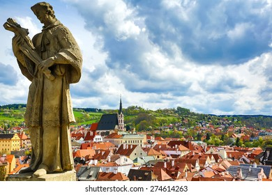 View over Cesky Krumlov in Bohemia, Czech Republic, Europe.