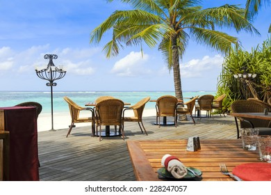 View over chairs and tables of a tropical beach restaurant with palm trees and blue ocean