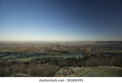 View over Cheltenham, UK from Leckhampton Hill. An escarpment served as an iron age fort and quarry. GCHQ in the background.