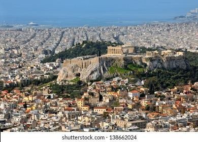View over the city and the acropolis from Lycabettus hill in Athens, Greece