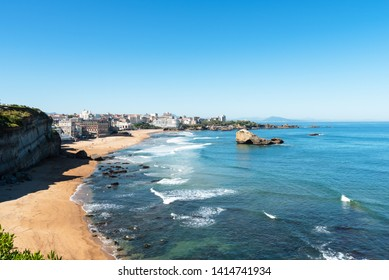 View over the city of Biarritz and its main beach. Basque coast of France.