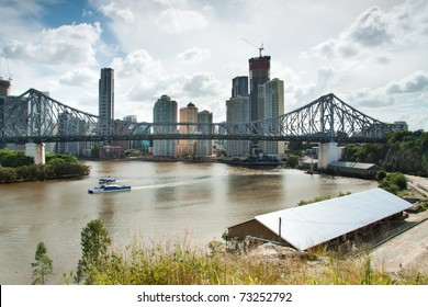 view over the city with big bridge in foreground (story bridge,brisbane,qld,australia)