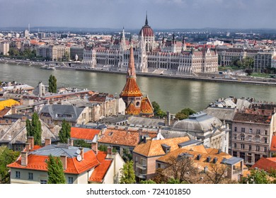 View over the city of Budapest and the river Danube, Hungary, Europe