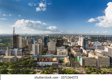 View over City Hall and modern highrises and streets in the business district of Nairobi, Kenya.