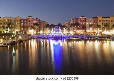 View over the city of Naples illuminated at night. Florida, United States