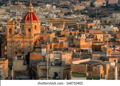 View over the city of Victoria (Rabat) at Gozo, the neighboring island of Malta