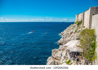 View over the city wall of Dubrovnik over the Adriatic Sea