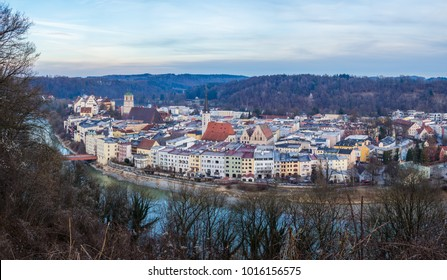 View over the City of Wasserburg and the river Inn in the first daylight seen from the observation spot Schöne Aussicht. - Shutterstock ID 1016156575