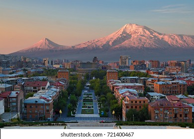 View over the city of Yerevan, capital of Armenia, with the two peaks of the Mount Ararat in the background, at the sunrise.