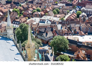 A view over the city of York in England on a summers day