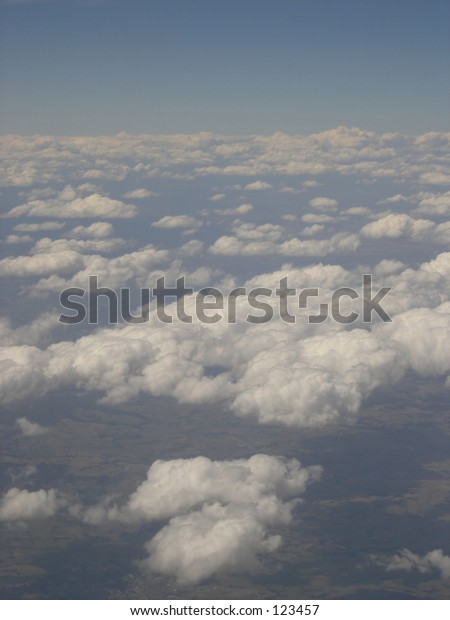 View over clouds from flight.
