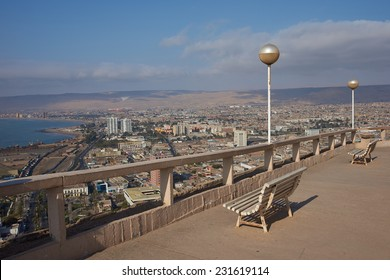 View over the coastal city of Arica in northern Chile from the Morro de Arica