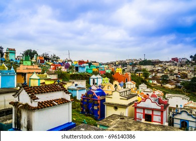 View over colerful cemetery of chichicastenango - Guatemala