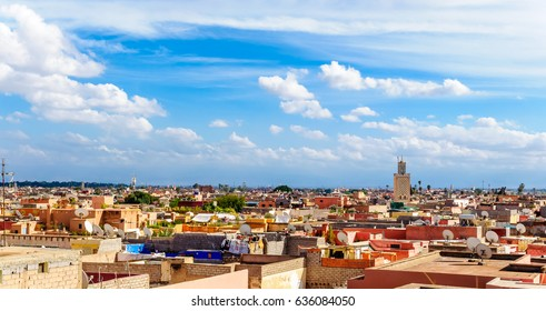 View over the colorful roofs over Marrakesh