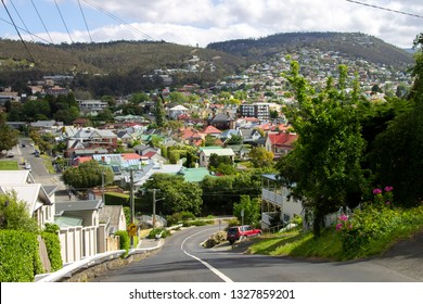 A view over the colourful rooftops of Sandy Bay from Battery Point, Hobart, Tasmania, Australia.
