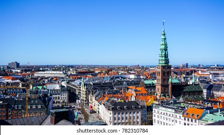 View over Copenhagen, Denmark with clear blue skies from Christiansborg Palace