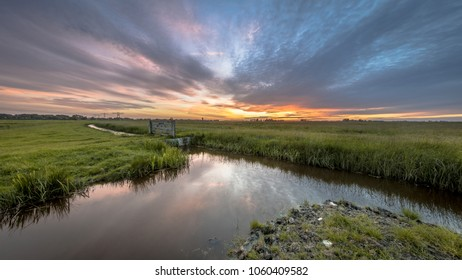 View over dairy farmland  agricultural landscape on dutch countryside in Groningen Netherlands under beautiful sunset