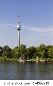 View over Danube river to Danube Tower in Vienna