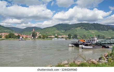 View over Danube River to Weissenkirchen,Wachau Valley,lower Austria,