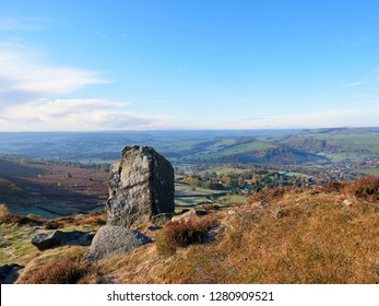 View over Debyshire from Curbar Edge on a bright Autumn morning